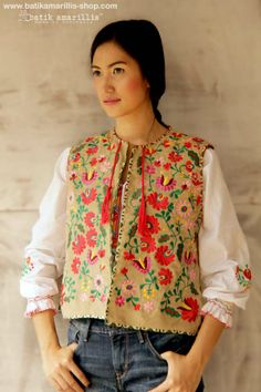 Batik Amarillis's folklore 2014 vol 2 splendid Hungarian embrodery with batik banyumas of Indonesia accented with red tassels ..enjoy our beautiful ethnic inspired collection and spectacular Hungarian folk art embroidery..