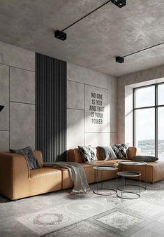 O toque de cor desta sala de estilo industrial era o sofá de caramelo - Arquitetura e Design de Interiores - Loft Interior Design, Industrial Interior Design, Loft Design, Home Interior, Interior Design Living Room, Modern Interior, Living Room Designs, Living Room Decor, Interior Architecture