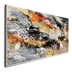 Amazon.com: Handpainted Original Huge Canvas Large Oil Paintings On Canvas Wall Art Orange And Teal Wall Decor Abstract Painting Bathroom Wall Art Paintings On Canvas: Handmade