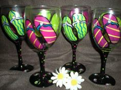 flip flop painted wine glasses