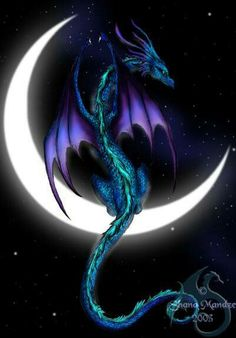 blue and purple dragon on the moon i would love to paint this! Ok, ok done with the dragon spam for now. Fantasy Wesen, Fantasy Art, Magical Creatures, Fantasy Creatures, Dragon Bleu, Dragon Moon, Blue Dragon, Emerald Dragon, Dragon Lady