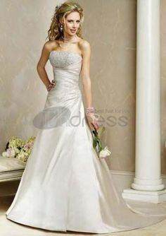 Ball-Gown Strapless Chapel Train Taffeta Bridal Dresses