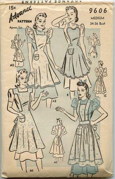 Advance 9606 Misses Bib Style Full Apron Pattern 4 Styles Womens Vintage Sewing Pattern Size Large Bust 38 - 40 Vintage Apron Pattern, Vintage Sewing Patterns, Retro Apron Patterns, Pattern Sewing, Pattern Drafting, Pdf Patterns, Crochet Patterns, Vintage Outfits, Fashion Vintage