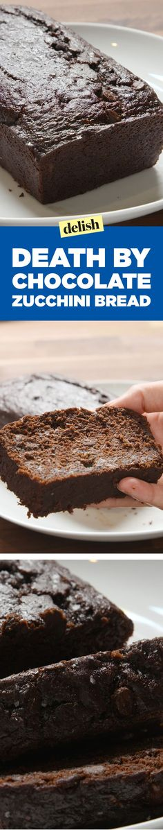 by Chocolate Zucchini Bread Death by chocolate zucchini bread is gonna slay your brunch. Get the recipe on .Death by chocolate zucchini bread is gonna slay your brunch. Get the recipe on . Köstliche Desserts, Delicious Desserts, Dessert Recipes, Yummy Food, Health Desserts, Chocolate Zucchini Bread, Banana Bread, Death By Chocolate, Dessert Bread