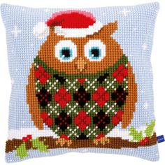 "Christmas Owl Cushion Cross Stitch Kit-16""X16"""