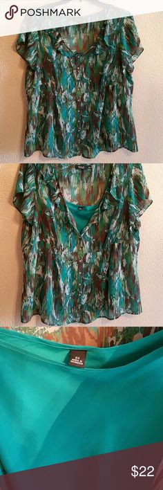 Sale!! Dressy Blouse size 2x Like new hardly worn. No rips , stains or improfections. Light material. Has a tank top that comes with it silky material. Great for work in a office with a pair of black slacks. Anna Scholz Tops Blouses