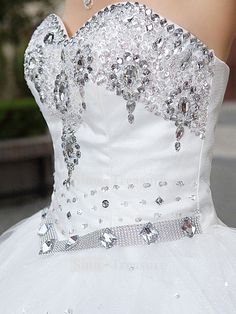 Sleeveless White Corset Satin Ball Gown with crystal