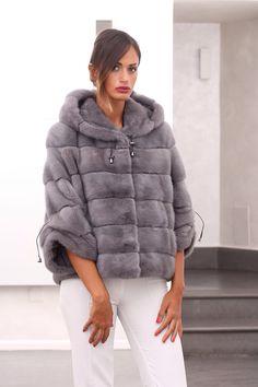 Sapphire Mink Fur Hooded Jacket