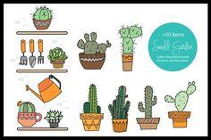 Small Garden & Coffee Shop Color Set - Illustrations
