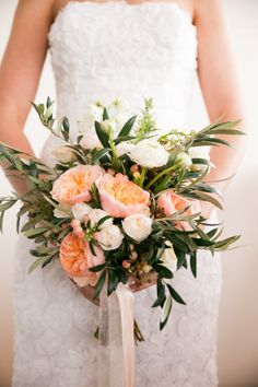 Bella Bloom Floral Designs - Brisbane Wedding Weekly - Timeless Tales Photography - Stunning peach, white and green wedding bouquet.