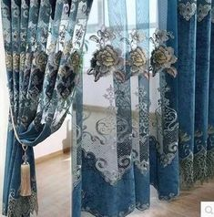 Chenille curtains bedroom luxury European openwork embroidery finished thickened windows shading