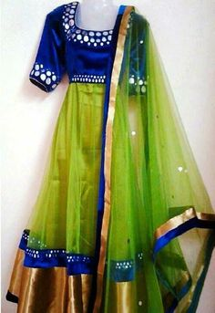 Raw silk + mirror work + net ( Made on order ) Price : INR 4499 + shipping Indian Skirt, Dress Indian Style, Indian Outfits, Anarkali Dress, Anarkali Suits, Lehenga Gown, Lengha Choli, Lehenga Blouse, Indian Lehenga
