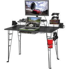Cable Management System - Non-marring Feet - Steel Rod Construction - Easy Assembly - Accessories Include Charging Station Speaker Trays Storage Drawer Table Top Reinforcement Bar Monitor Stand 2 Cont