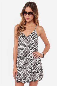 Cross Your T's Ivory and Black Print Shift Dress at Lulus.com!