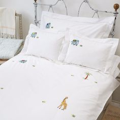Elephant and Palm Cot Bed Duvet Cover by SARAHK designs | SARAHK designs