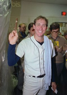 Alan Trammell, shortstop for the Detroit Tigers and World Series MVP celebrates in the Club House after the Tigers won the 1984 World Series.