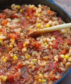 INGREDIENTS 1 cup uncooked elbow macaroni (I used whole wheat) 1 pound lean ground beef (90% lean) 1 medium onion, chopped 1 can (28 ounces) diced tomatoes, undrained ⅔ cup frozen corn (I used 1 cup) 1 can (8 ounces) tomato sauce 1 can (4 ounces) chopped green chilies ½ teaspoon ground cumin (I u…