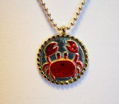 Cute Red Crab Pendant by GreyGyrl on Etsy, $10.00