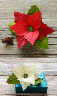 Learn to make this gorgeous crepe paper poinsettas with a step by step video tutorial #crepepaper www.LiaGriffith.com