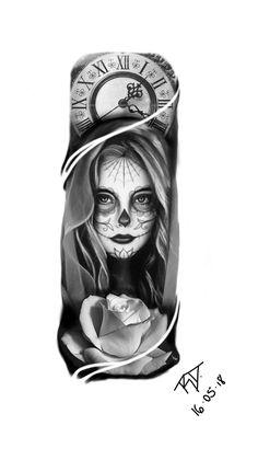 Catrina Forarm Tattoos, Chicano Tattoos, Chicano Art, Skull Tattoos, Body Art Tattoos, Sleeve Tattoos, Rose Drawing Tattoo, Tattoo Drawings, Clock Tattoo Design