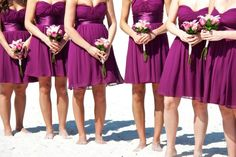 Mexico Beach wedding - bridesmaid dresses and flowers