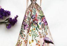 Sketch of dress of fashion designer 101