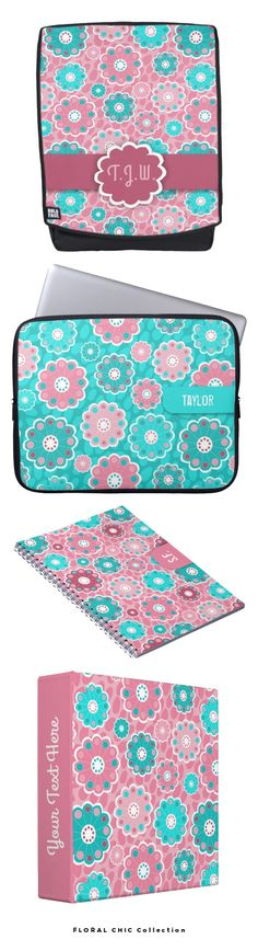 Floral Chic Collection -A trendy design of abstract flowers, digitally designed in a simplistic manner. Aqua and pink tones add a modern and fresh feel to the products. MAny items suitable for back to school. #backtoschool @zazzle