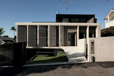 """<a href=""""http://architecturenow.co.nz/articles/herne-bay-house/"""" target=""""_blank""""><u>Herne Bay House</u></a>, by Daniel Marshall. A series of precast concrete louvres act in a similar way to a front porch, interfacing with the street but still allowing for privacy within."""