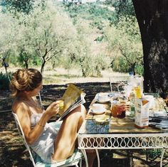 Summer breakfast outdoors