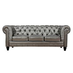 Zahara Silver Leather Sofa | Overstock.com Shopping - Great Deals on Sofas & Loveseats
