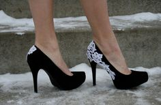 Black heels with white lace <3