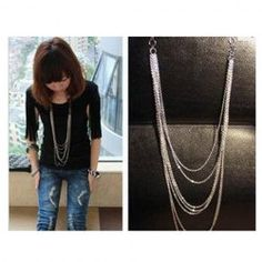 $2.75 Fashion and Retro Style Laconic and Mix-Matched Tassels Design Necklace