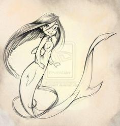 Shark Mermaid sketch by sharkie19 on DeviantArt