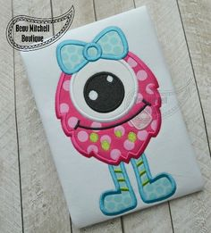 One eye girl monster applique - Beau Mitchell Boutique