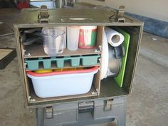 military container adapted into a camping box.