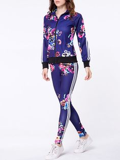 [App Clearance] Lapel Zips Floral Printed Jacket And Slim-leg Pant, I found a nice item on Fashionmia, open to see it.
