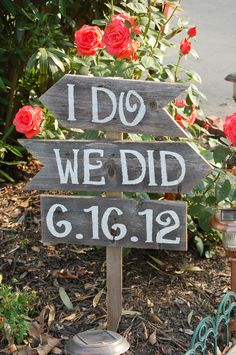 I do We Did Wedding Date Signs Directional Arrow Sign Painted Wedding Signs. Rustic Wedding signs, Wood Wedding Signs. $78.00, via Etsy.