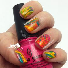 Marbling!  And a little dotting for accent. Pink is CG - Escaping Reality  @beans_nails