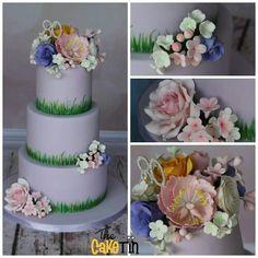 Floral 80'th birthday cake