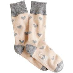 J.Crew Corgi cashmere heart socks (110 AUD) ❤ liked on Polyvore featuring intimates, hosiery, socks, accessories, legwear, tights, thigh high hosiery, heart socks, thigh high socks and j crew socks