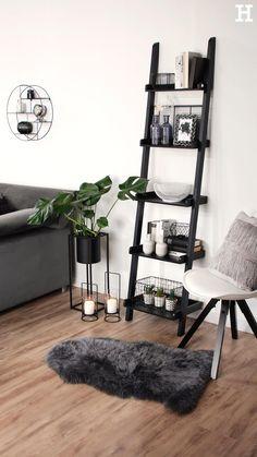 Room Interior, Interior Design Living Room, Living Room Designs, Grey Bedroom Design, Monochrome Bedroom, Room Ideas Bedroom, White Bedroom Decor, Black Room Decor, Decor Room