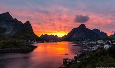 Rugged mountains. They are not very high, but challenging to climb. Reine in Lofoten, NORWAY