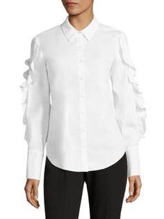 Scripted - Lace-Up Ruffled Poplin Shirt