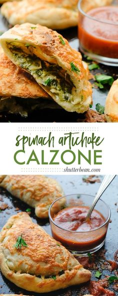 If you're looking for a great vegetarian weeknight meal, check out this Spinach Artichoke Calzone recipe on Shutterbean.com!