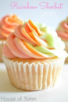 Rainbow Sherbet Cupcakes.  Made with REAL Rainbow Sherbet.