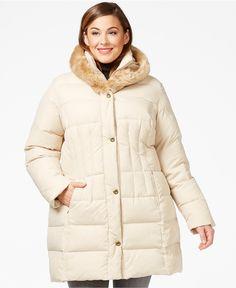 Larry Levine Plus Size Faux-Fur-Trim Quilted Down Coat - Coats - Plus Sizes - Macy's