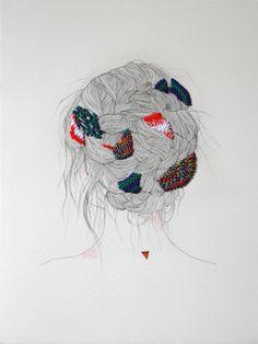 ilustração e bordado - illustrarion and emroidered izziyana suhaimi Art Et Illustration, Illustrations And Posters, Art Design, Embroidery Art, Textile Art, Art Inspo, Fiber Art, Cool Art, Art Drawings