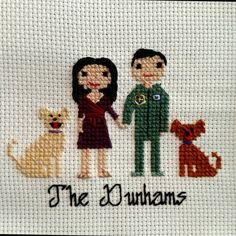 Custom Cross Stitch Family Portrait | Realistic Hair | Couple |2nd Cotton Anniversary | Housewarming | Engagement | Wedding | Gift | Present