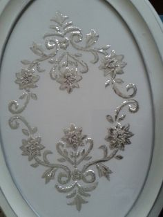 This Pin was discovered by Ayş Couture Embroidery, White Embroidery, Embroidery Dress, Ribbon Embroidery, Embroidery Patterns, Embroidery Needles, Cross Stitch Embroidery, Mirror Work Blouse Design, Embroidered Towels