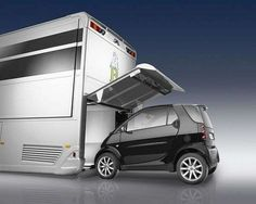 my next trailer i want to be smaller and i want to renovate again, but my third trailer will be this one w/the smart car! Luxury Living on Wheels: 6 Stunning RVs that will Make You Drool Luxury Rv, Luxury Tents, Glamping, Luxury Caravans, Mercedes Benz, Shelter Design, Shipping Container House Plans, Smart Car, Nascar Racing